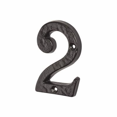 Colonial 76mm Numeral - 2 - Metalized Antique Black Iron