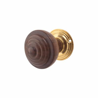 Olde Forge Ringed Door Knob Set - Wood & Brass