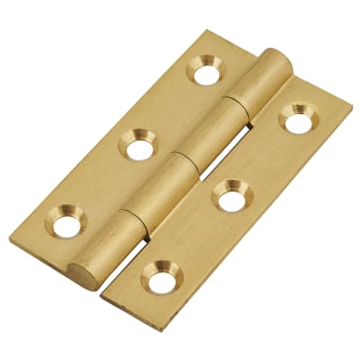 Solid Drawn Hinge - 50 x 28 x 1.45mm - Satin Brass - Pair