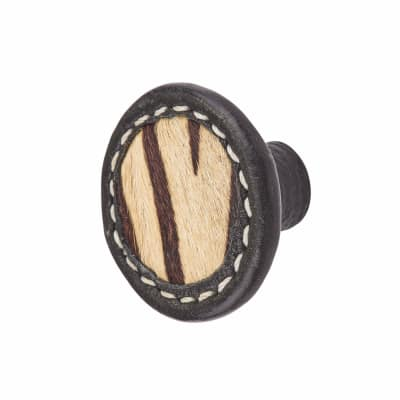 Round Leather Cabinet Knob - Stitched - Zebra Print
