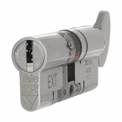 Yale® 3 Star Anti-Snap Platinum Euro Thumbturn Cylinder - 80mm Length - 40[k]* + 40mm - Bright