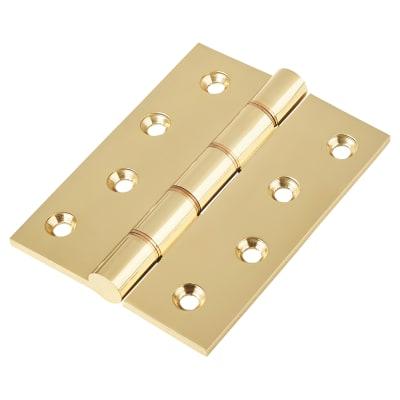 Double Phosphor Bronze Washered Hinge - 100 x 75 x 4mm - Polished Brass - Pair