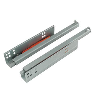 Motion Base Mounted Drawer Runner - Push-To-Open - Single Extension - 400mm - Zinc