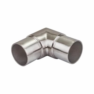 Balustrade 90 Degree Sharp Elbow Tube Connector - 304 Stainless Steel - Brushed Satin