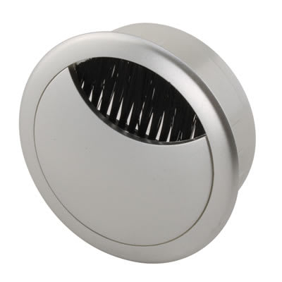 ION Round Desk Cable Grommet - 60mm - Silver - Pack 10