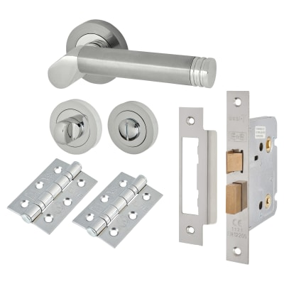 Touchpoint Helena Lever Door Handle - Bathroom Lock Kit - Satin/Polished Chrome