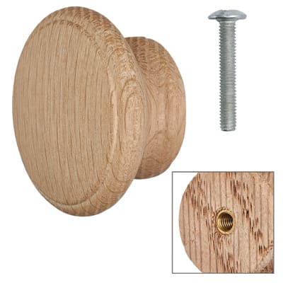 Cabinet Knob - Raw Light Oak - with Bolt & Insert - 60mm - Pack of 5