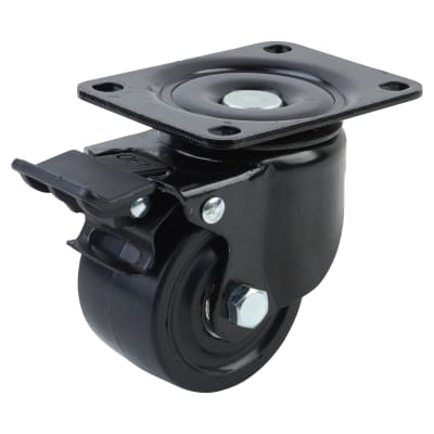 Coldene Low Level and High Load Castor - Swivel Braked - 250kg Maximum Weight - Black