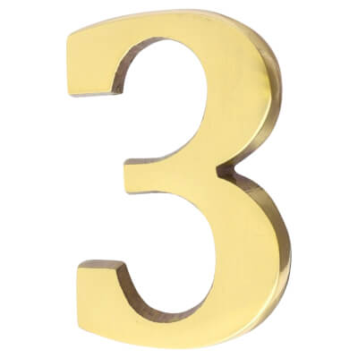 50mm Numeral - 3 - Polished Brass