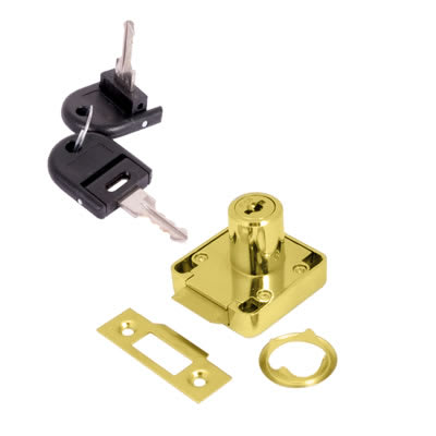 Slam Lock - 19 x 22mm - Keyed to Differ - Brass Plated