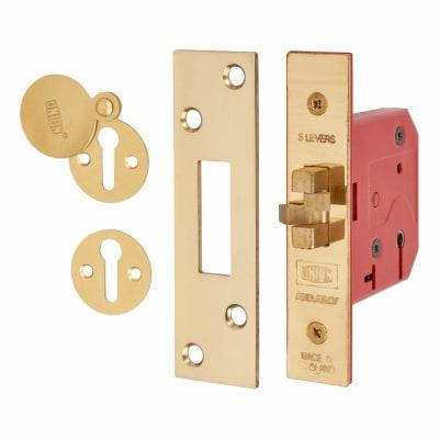 UNION® 2401 5 Lever Sliding Door Lock - 78mm Case - 57mm Backset - Brass