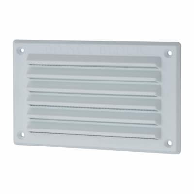 Louvre Vent with Flyscreen - 155 x 94mm - 2567mm2 Free Air Flow - White  Plastic