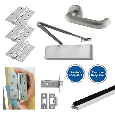 Heavy Duty Lever on Rose Fire Door Kit - Latch - Aluminium