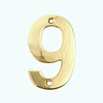 100mm Numeral - 9 - Brass PVD
