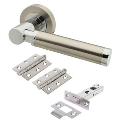 Touchpoint Juliet Lever Door Handle on Rose - Door Kit - Satin Nickel/Polished Chrome
