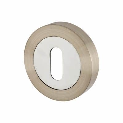 Touchpoint Escutcheon - Keyhole - Satin Nickel/Polished Chrome