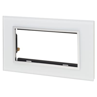 Retrotouch 4 Gang Euro Module Plate - White Glass with Chrome Trim