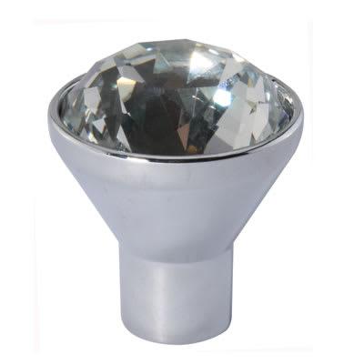 Raised Cut Crystal Glass Cabinet Knob - 29mm - Polished Chrome