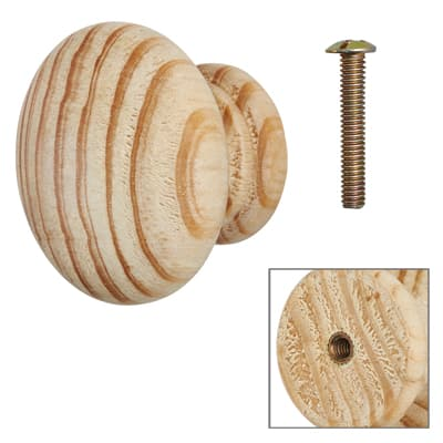 Touchpoint Wooden Cabinet Knob with Bolt & Insert - 50mm - Pine - Pack 5