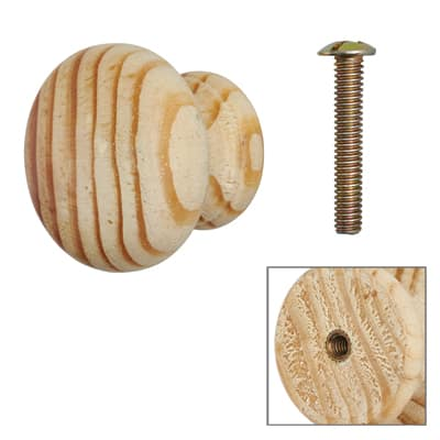 Touchpoint Wooden Cabinet Knob with Bolt & Insert - 35mm - Pine - Pack 5