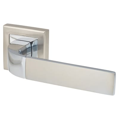 Morello Theta Lever Door Handle on Rose - Satin Nickle/Polished Chrome