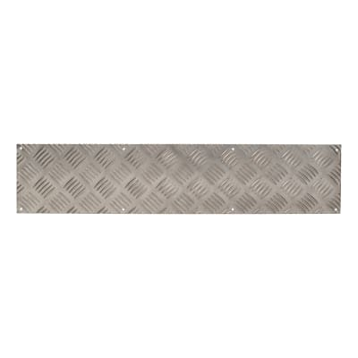 Kick Plate / Finger Plate - Made to Measure - 3mm - Checkerplate 5 Bar Tread - Mill Finish