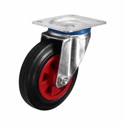 Coldene Heavy Duty Industrial Castor - Swivel - 205kg Maximum Weight - Black/Red