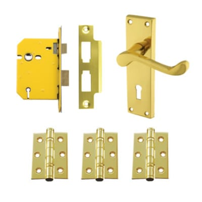 Aglio Victorian Scroll Handle Door Kit - Keyhole Lock Set - Polished Brass
