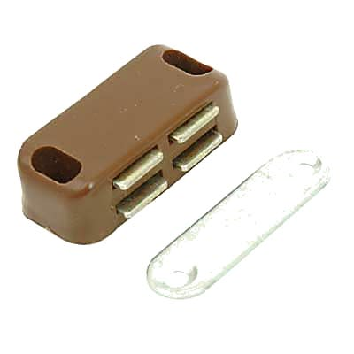 Budget Magnetic Catch - 40mm - 4.0kg Pull - Brown - Pack 5