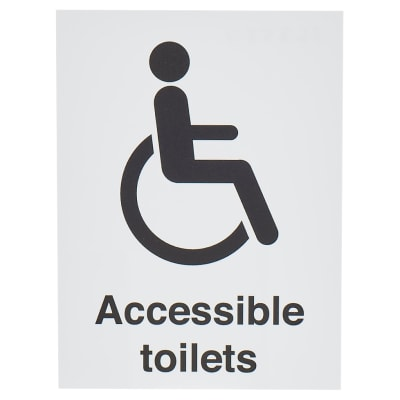 Disabled / Accessible Toilet Sign - 200 x 150mm - White