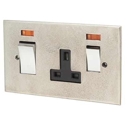 Finesse 45A Cooker Control With 13A socket with neon - Pewter