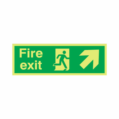 NITE-GLO Fire Exit Running Man - Arrow Up Right - 150 x 450mm