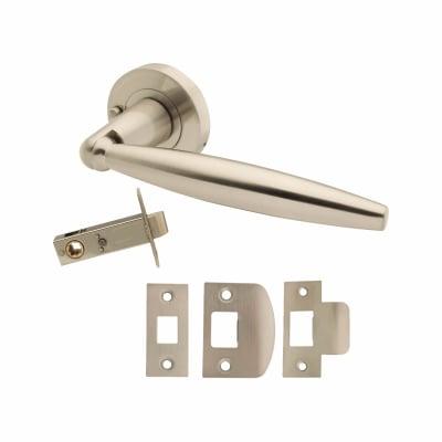 Excel Turin Lever Door Handle on Rose - Privacy Set - Satin Nickel