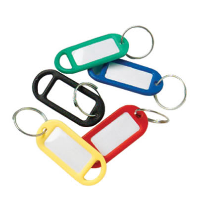 Key Ring Tag - 48 x 21mm - Assorted Colours - Pack 50