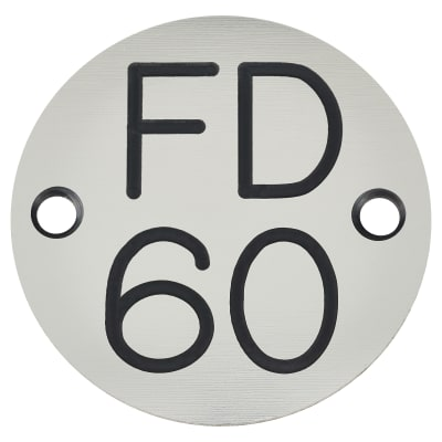 FD60 Door Sign Drilled - 50mm - Silver