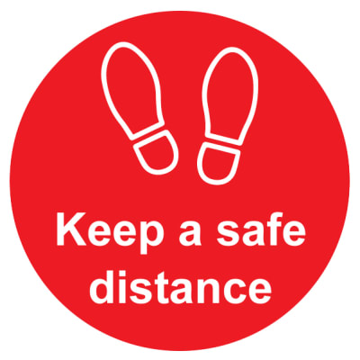 Social Distance Floor Graphic - Keep Safe Distance - 200mm - Red