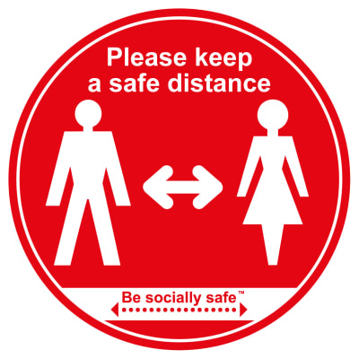 Social Distance Floor Graphic - Please Keep Safe Distance Apart - 400mm - Red