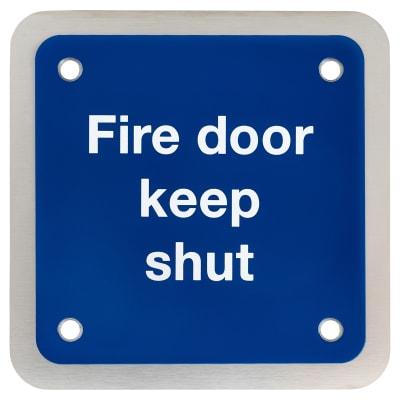 Fire Door Keep Shut Square - 90x90mm - Satin Stainless Steel