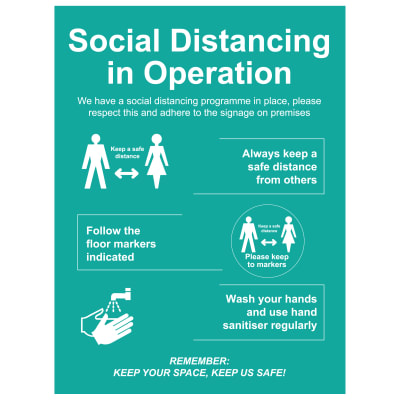Social Distancing In Operation Sign - 600 x 800mm - Rigid Plastic