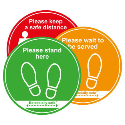 Social Distance Floor Graphic Traffic Light Pack - Keep Safe Distance - 400mm - Pack 3