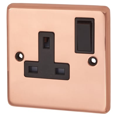 G&H Brassware 13A 1 Gang Switched Double Pole Socket - Polished Copper