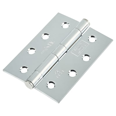 Plain Steel Hinge - 102 x 76 x 3mm - Polished Chrome - Pair