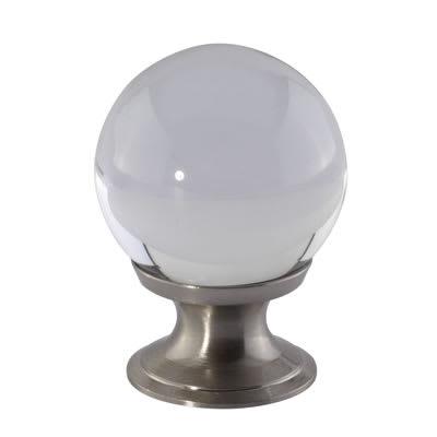 Ball Glass Cabinet Knob - 30mm - Satin Nickel