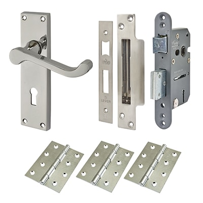 Touchpoint Budget Scroll Door Handle Kit - Keyhole Lock Set - Polished Chrome