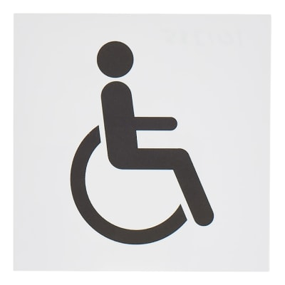 Square Disabled Toilet Sign - 150 x 150mm - White