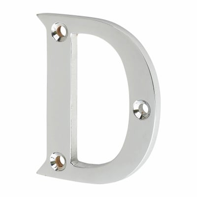 53mm Screw Fixed Letter - D - Polished Chrome