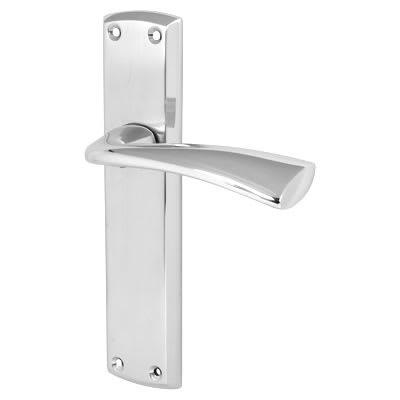 Morello Taranto Door Handle - Latch Set - Satin/Polished Chrome