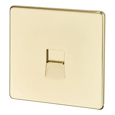 BG Screwless Flatplate 1 Gang Slave Telephone Socket - Polished Brass