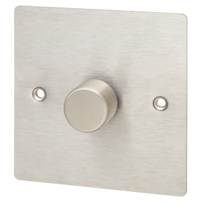 Hamilton 1 Gang 2 Way Flat Plate 100W LED Dimmer - Satin Stainless
