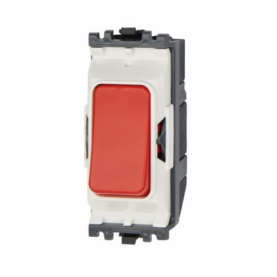 MK 20A 1 Gang 1 Way Double Pole Push to Make Grid Switch - Red